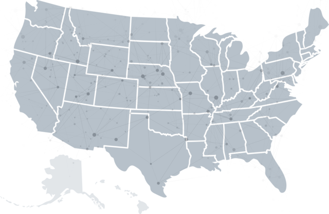 Map of USA with markings to show location of sales reps